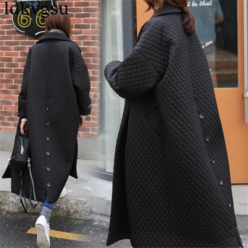 2019 겨울 블랙 롱 코트 여성 outwear 자 켓 고품질 단일 브레스트 패션 기본 느슨한 특대 여성 파 카 자 켓-에서파카부터 여성 의류 의  그룹 1