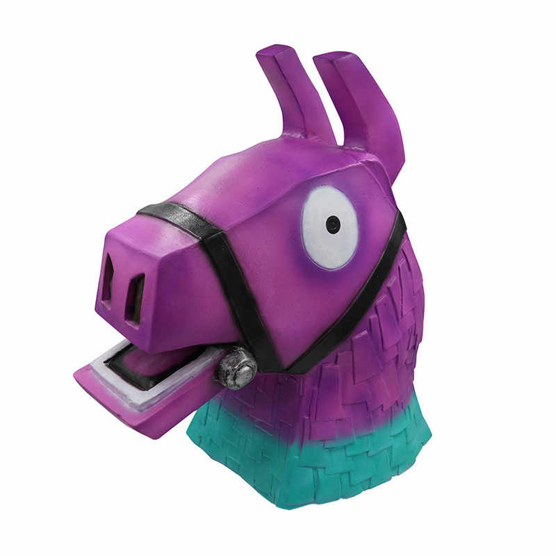 Game Battle Royale Troll Stash Llama Latex Mask Horse Cosplay Full Face Rainbow Smash Masks Halloween Helmet Women Men Prop Gift