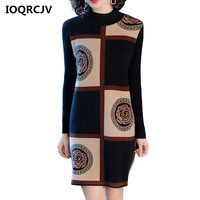 Woman Elegant Autumn Winter Print Turtleneck Sweater Dress Solid Women Long Knitted Dress Sweater Long sleeved Robe Femme L160