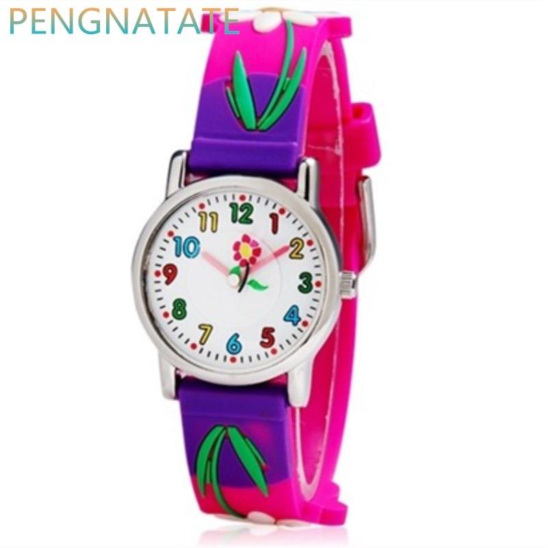WILLIS Luxury Brand Children Watches Quartz Watch Analog 3D Flowers Rubber Clock Children Sports Waterproof Watches