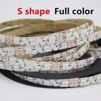 Светодиодная лента WS2812B RGB, 1/2/3/4/5 м, 8 мм, 60 светодиодов, 60 пикселей, не водонепроницаемый, 5 В, полный цвет
