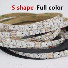 PCB en forma de S, 1/2/3/4/5M, 8mm, direccionable, WS2812B, RGB, tira de píxeles LED, flexible, 60LED, 60 pixeles/M, no resistente al agua, 5V, a todo color