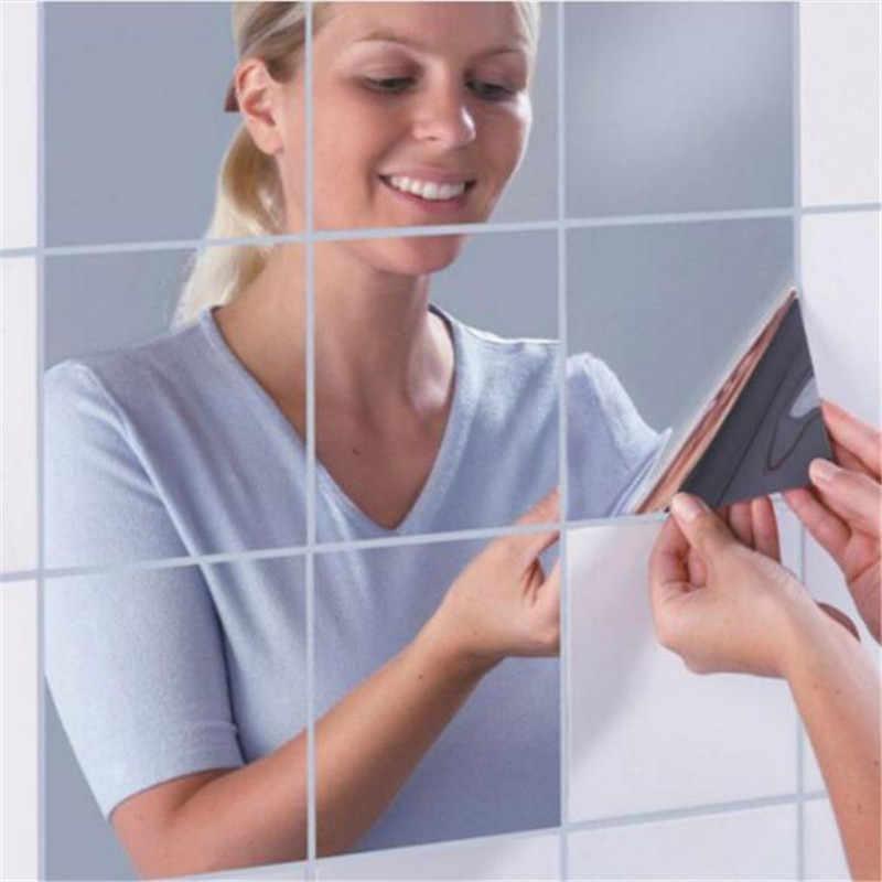 0.1 مللي متر/0.2 مللي متر 15x15 سنتيمتر مرآة ملصقات جدار الفضة ملصقات جدار ذاتي الصنع فسيفساء مرآة حمام ملصق الساحات ورق حائط ديكور المنزل