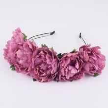 CXADDITIONS Big Fabric Peony Wildflower Headband Hair Headwrap Flower Crown Bridesmaid Floral Rustic Photography Wedding