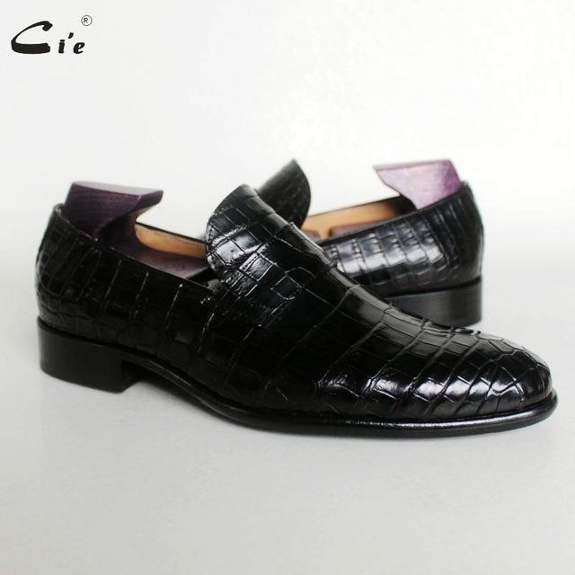Ci'e –  Round toe, calf leather, embossed crocodile design, black handmade, breathable men's leather loafer