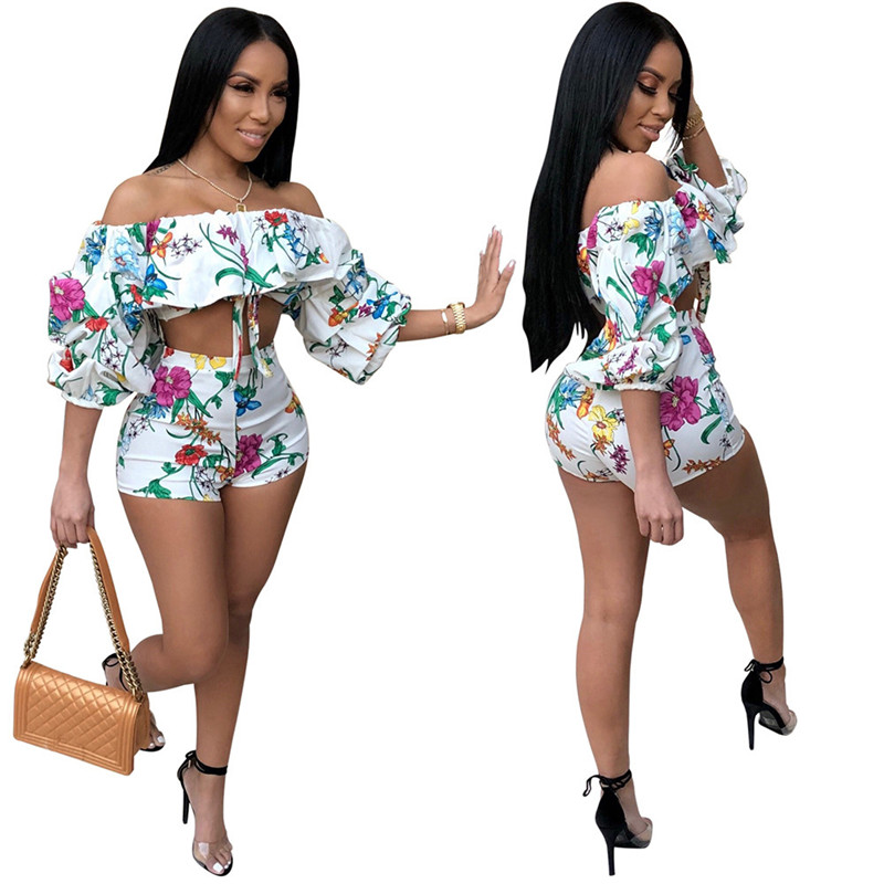 Two Piece Set Women 2020 New Summer Sexy Off The Shoulder Floral Print Crop Top And Shorts Set Party Club Women 2 Piece Outfits