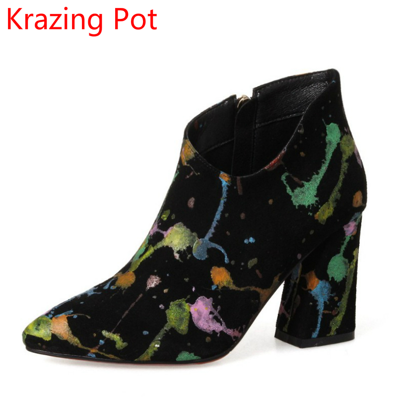 Handmade Cow Suede Graffiti Tattoo Design Fashion Winter Shoes Women Super Thick High Heels Zipper Pointed Toe Ankle Boots L2f5 2018 fashion winter shoes cow suede high heels solid pointed toe zipper handmade warm european style sweet women ankle boots l26