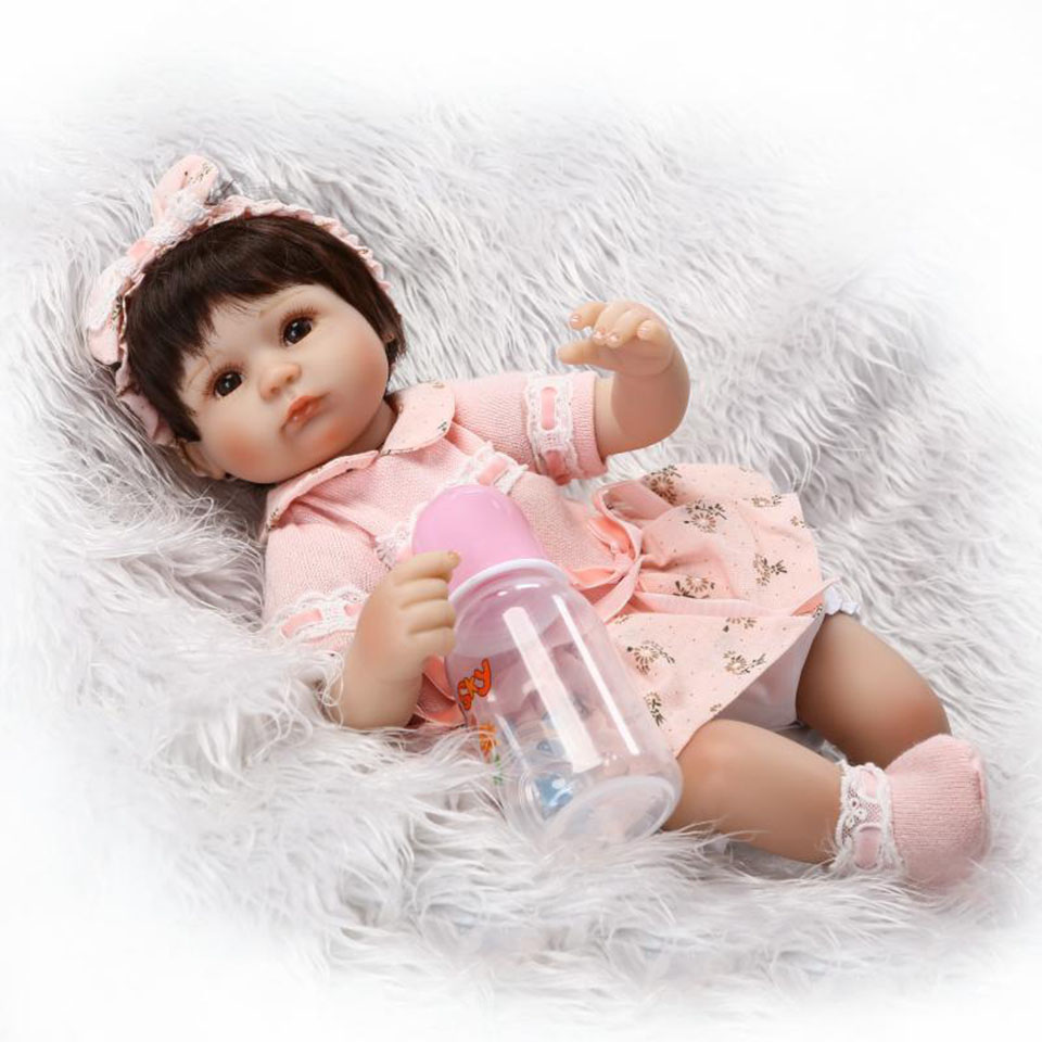 16 Inch Lifelike Reborn Baby Dolls Girl Gifts Soft Silicone Toy Alive Simulation Toddler Babies Doll Lovely Wear Pink Dress bebe npk lifelike 16 soft silicone reborn baby dolls truly pretty girl reborns realistic babies doll wear dress toddler playmate