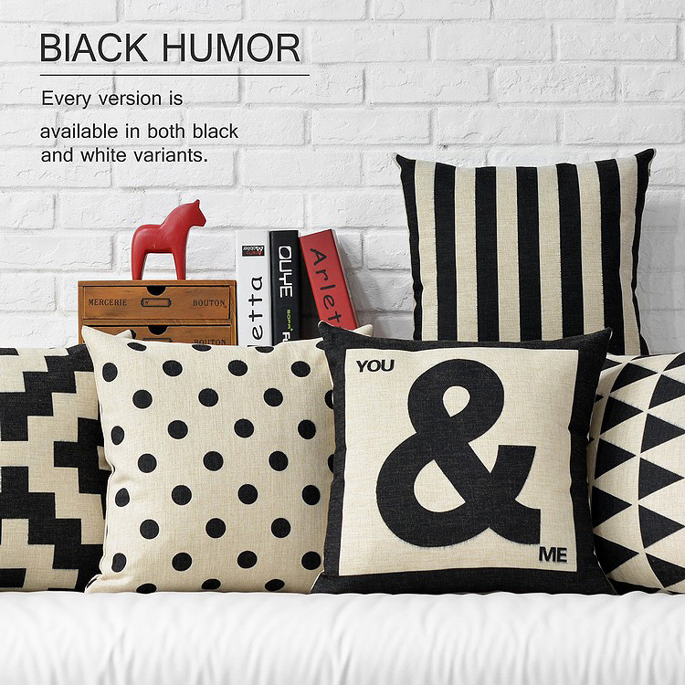 Contemporary Sofa Geometric Pillows: Nordic Modern Black White Geometric Pillow Cushion Linen