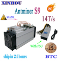 Gebruikt ASIC mijnwerker AntMiner S9 14 T/s SHA256 (Met PSU) btc BCH Miner Beter Dan Antminer S9 13.5 T T9 T15 S15 whatsminer m3 Baikal