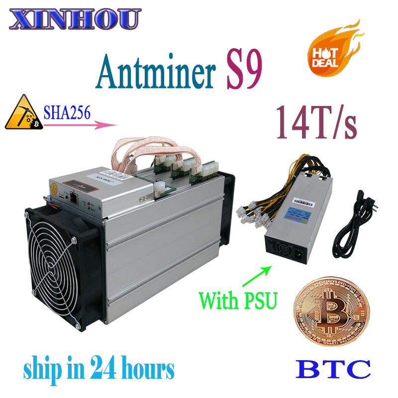 Used ASIC miner AntMiner S9 14T/s SHA256 (With PSU) Btc BCH Miner Better Than Antminer S9 13.5T T9 V9 whatsminer m3