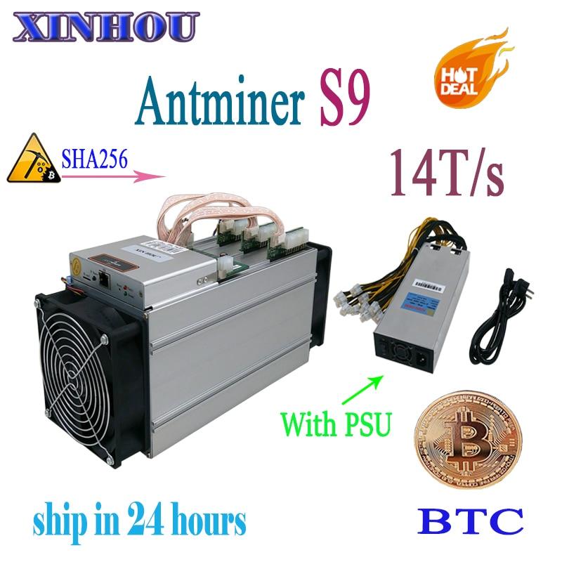 Utilizzato ASIC minatore AntMiner S9 14 T/s SHA256 (Con ALIMENTATORE) btc BCH Minatore Meglio di Antminer S9 13.5 T T9 T15 S15 whatsminer m3 Baikal