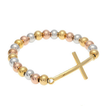 MCSAYS Hip Hop Bracelet Simple Cross Mix Color Bracelet Stainless Steel Copper Rosaries Bangel Fashion Jewelry for Men 4GM