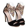 Mulheres bombas de moda de luxo strass partido fina heek peep toe sólidos mulheres negras de verão sapatos mulheres sapatos de salto alto