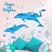Waterproof Bathroom Dolphin Wall Sticker Ocean World Removable Decals For Sofa Background Beedroom Decoration Art Mural