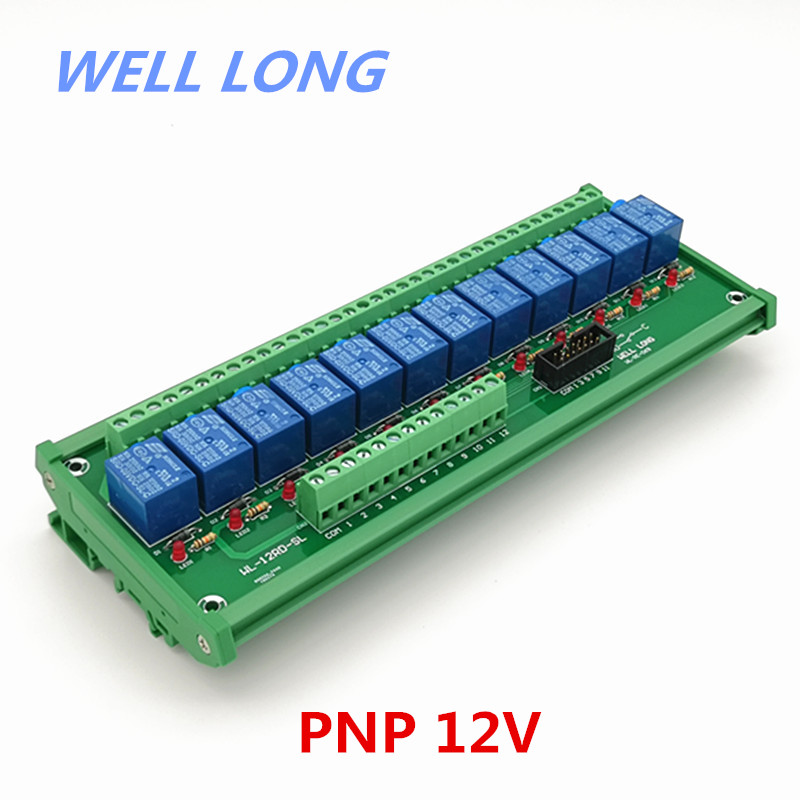 DIN Rail Mount 12 Channel PNP Type 12V 10A Power Relay Interface Module,SONGLE SRD 12VDC SL C Relay.