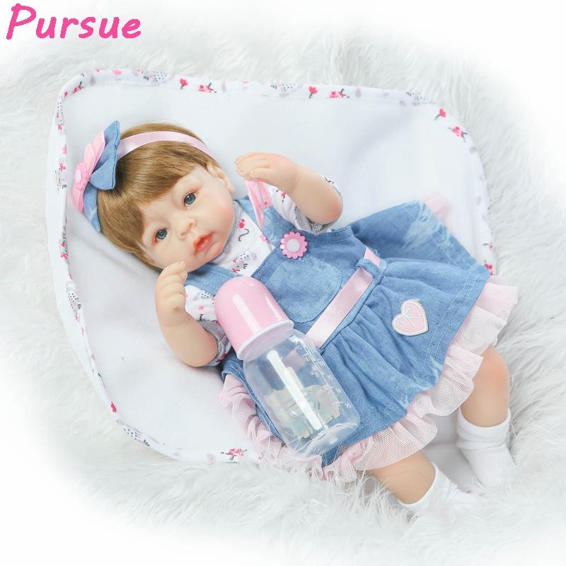 ФОТО Pursue 17 inch Real Baby Adora Doll Reborn Silicone Baby Dolls Girls Toys Bebe Reborn Silicone menina brinquedos para meninas