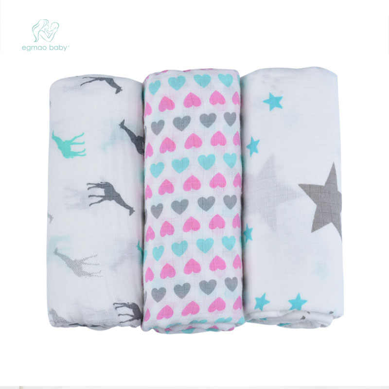 EGMAO BABY  Organic Baby Swaddle Muslin Bamboo Cotton Baby Blanket Diapers Envelope For Discharge Newborns Wrap Bedding