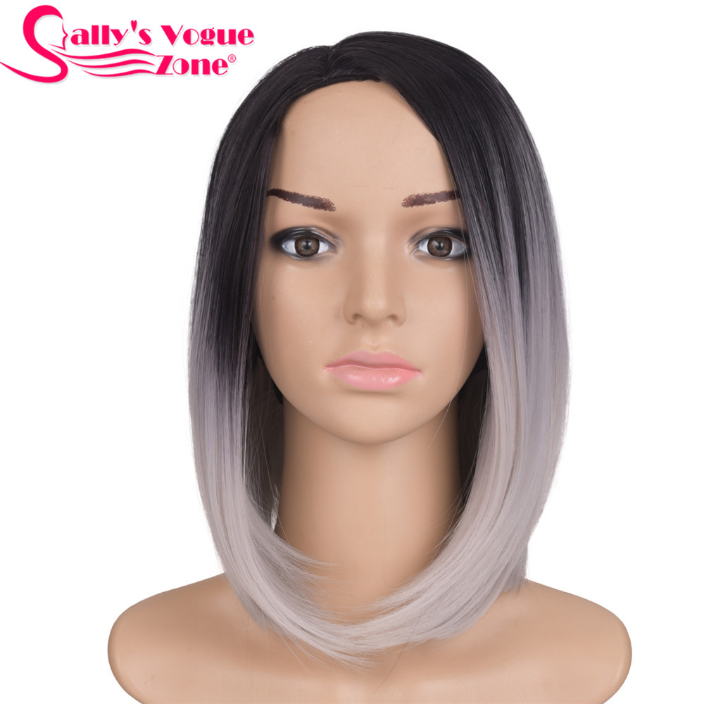 Sallyhair 12inch Japanese High Temperature Fiber Short Black Silver Grey Color Bob Wigs Synthetic Centre Part For Women