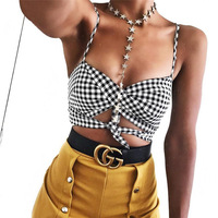 Chic Crop Top Women Sex Camisole Tank Top Female Cropped Summer Black Plaid Strap Sleeveless Cami