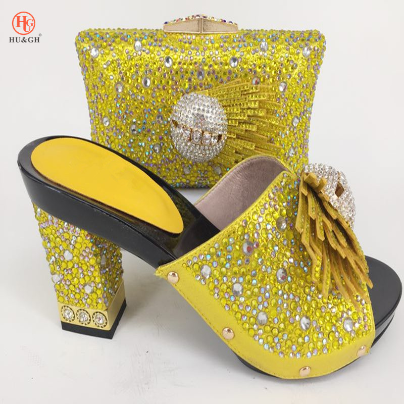 New Arrival Yellow Shoes and Bag Sets for Women African Matching Summer Shoes and Bags Italian In Women Bags and Shoes Set Italy wholesale italian ladies matching shoes and bags set in yellow high quality fashion african women shoes matching bag set mm1026