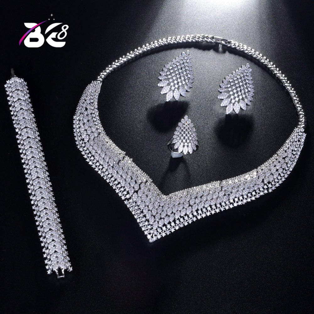 Be 8 Fashion New White Color Top Quality Wedding Jewelry Sets, AAA Cubic Zirconia Bridal Earrings Necklace Set for Women S201Be 8 Fashion New White Color Top Quality Wedding Jewelry Sets, AAA Cubic Zirconia Bridal Earrings Necklace Set for Women S201