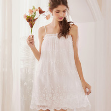 Wasteheart Women Fashion White Cotton Sexy Sleepwear Spaghetti Strap Nightdress Lace Nightwear Sleepshirts Nightgown