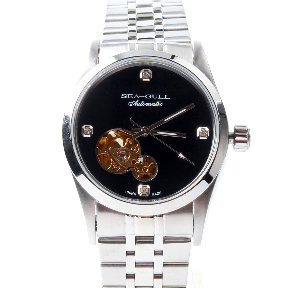 Seagull PVD With Stainless Steel Self-wind 3 Hands Exhibition Back Automatic Men's Business Watch M149SK seagull grande date flywheel self wind skeleton 3 hands automatic mechanical men s business watch 816 409