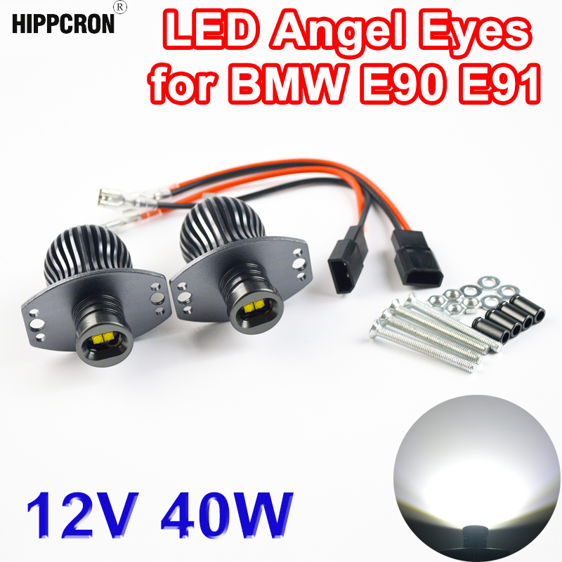 hippcron 2 Pieces(1 Set) 2*20W 40W LED Marker Angel Eyes Halo Light High Power for CREE LED Chips XENON White for BMW E90 E91