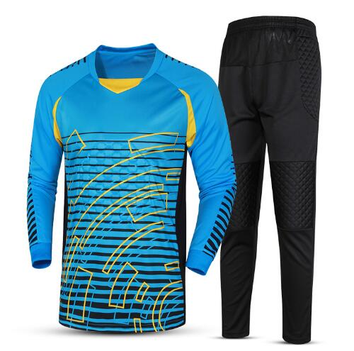 ФОТО 2017  Men's Soccer Goalkeeper Jersey Sponge Protector Suit Football Training Goal Keeper Uniforms Doorkeepers Jersey+pant Sets