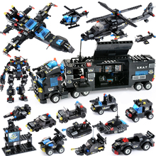 купить City Police Series Building Blocks Military Vehicle Car Helicopter Tank Blocks DIY Police Station Bricks Toys For Children Gifts недорого