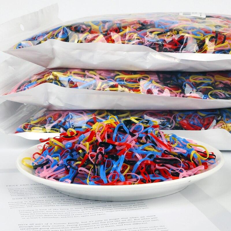 1000 unids/lote de goma desechable para el cabello, bandas de goma de TPU para niños, soporte para Coleta, banda elástica para el cabello, accesorios para el cabello para niñas Scrunchie|Accesorios para el pelo|   - AliExpress