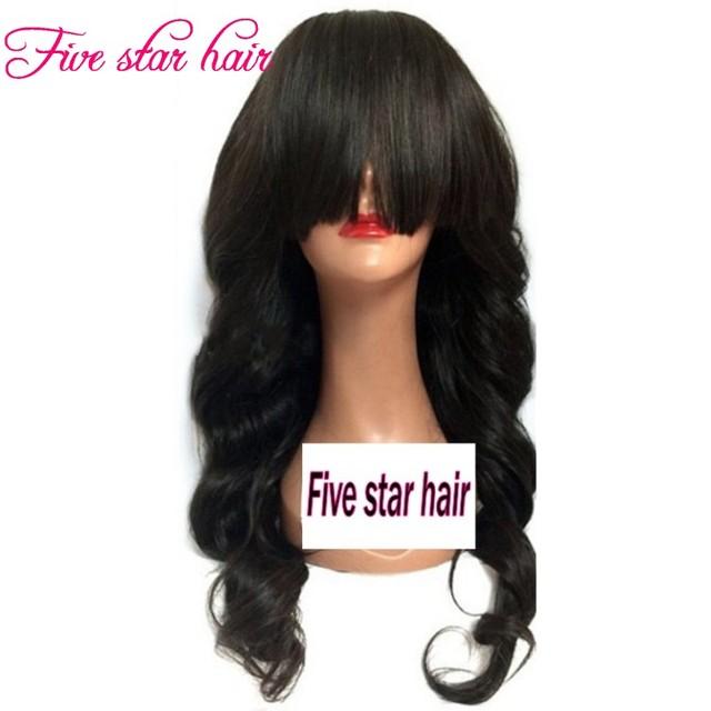 150 densidad del pelo humano pelucas Delanteras Del Cordón con Flequillo para negro mujeres Soft virginal Ondulado Sin Cola Llena Del Cordón del pelo Brasileño pelucas