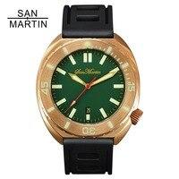 Сан Мартин для мужчин Бронзовый автоматические часы Винтаж наручные часы для ныряния сапфировое стекло 50ATM Полный световой ободок Relojes Hombre
