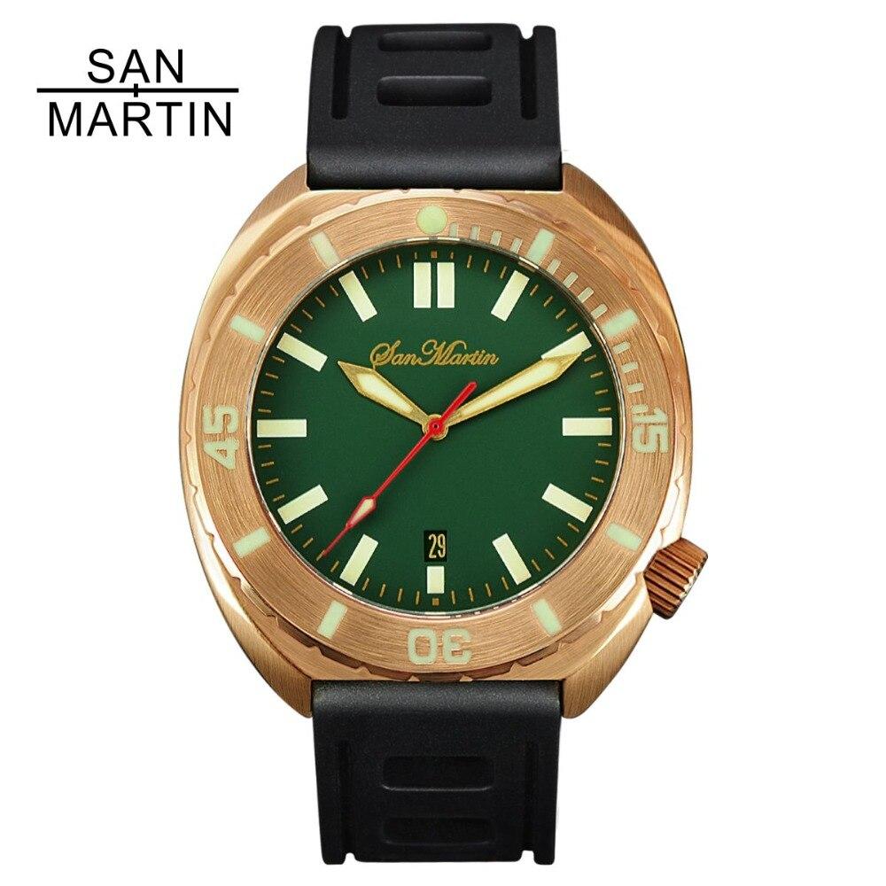 San Martin Hommes Bronze Automatique Montre Vintage Plongée Montre-Bracelet de Saphir verre 50ATM Plein Lumineux Lunette Relojes Hombre 2018