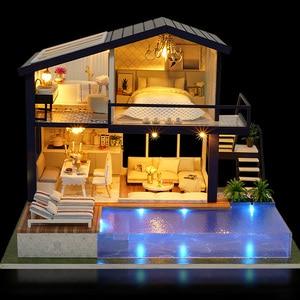 Image 4 - بيت الدمية أثاث خشبي لتقوم بها بنفسك منزل صندوق مصغر لغز تجميع ثلاثية الأبعاد miniator دمية مجموعات لعب للأطفال هدية عيد ميلاد