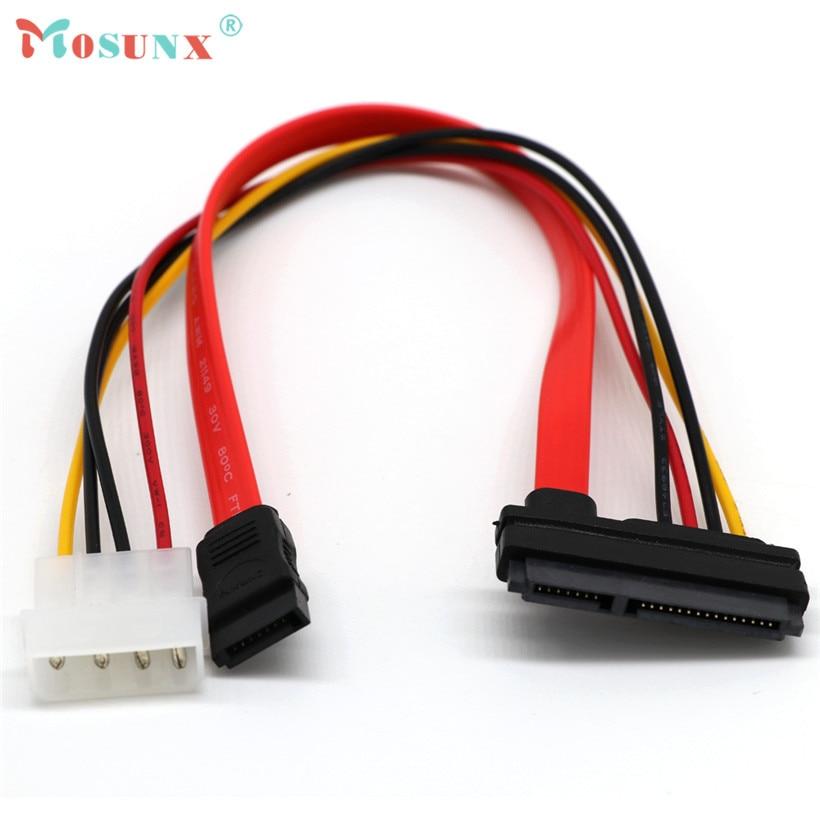 Mosunx advanced SATA Combo 15 Pin Power and 7 Pin Data Cable 4 Pin Molex to Serial ATA Lea 2017 hot sales tablets 1PC 10632 slim sata 13 pin to 7 pin data 4 pin power connection cable