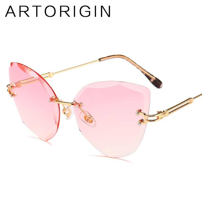 9a151b2b3df Luxury Cat Eye Sunglasses For Women Trimming Tint Gradient Color Glasses  Ladies New Fashion Trend Female