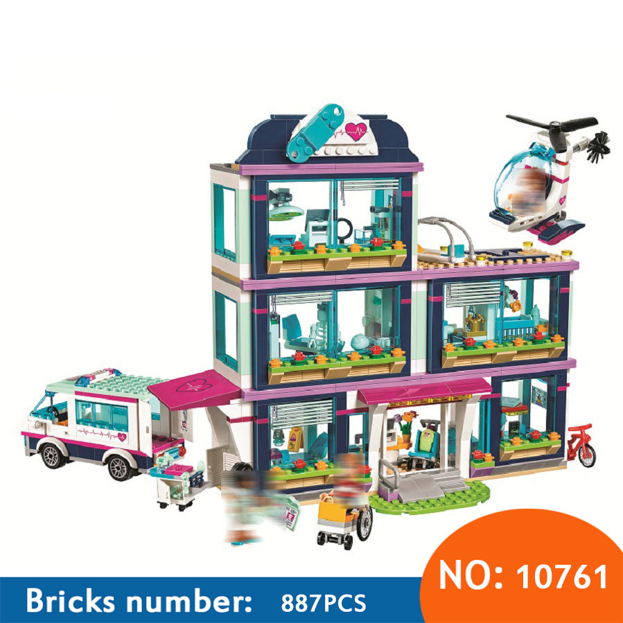 10761 887Pcs city HeartLake Hospital model Building sets Bricks education Toys For KIDS children gifts Compatible with 41318 10496 girl friends heartlake city park cupcake cafe building blocks sets kids education bricks toys gift compatible with legoe