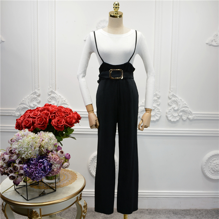 Alpha 2016 Womens Fashion Velvet Jumpsuit Metal Buckle Belt Spaghetti Strap Slim Waist V ...