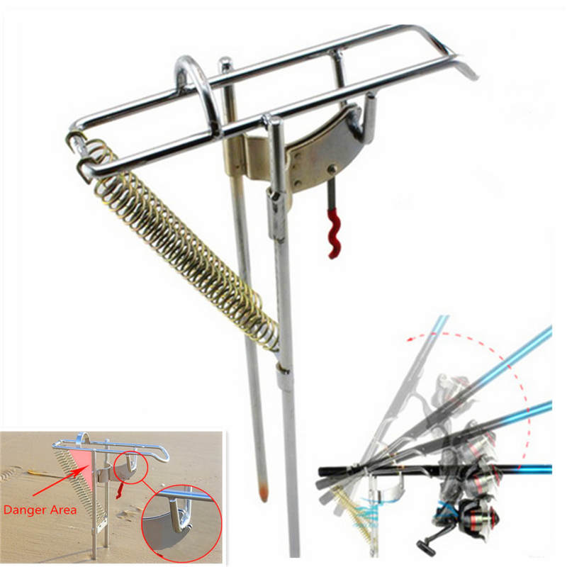 Stainless Steel Double Spring Automatic Adjustable Fishing <font><b>Rod</b></font> Pole Bracket Max Tension 50kg Sea Fishing <font><b>Rod</b></font> Stand Holder