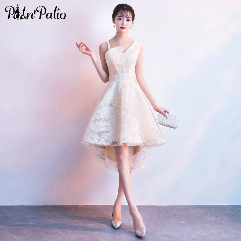 Elegant One Shoulder Short Front Long Back Champagne Lace High Low Junior  Bridesmaid Dresses 2018 ...