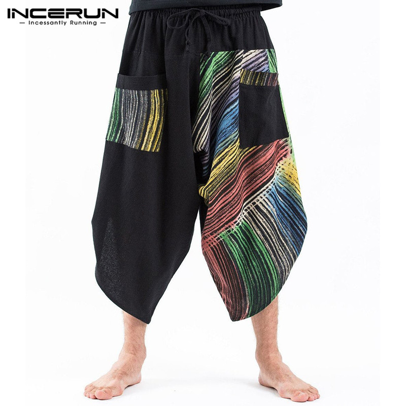 INCERUN Thai Ethnic Color Men Trousers Strip Retro Bohomia Printed Wide Leg Casual Streetwear 2019 Hiphop Loose Harem Pantalones(China)