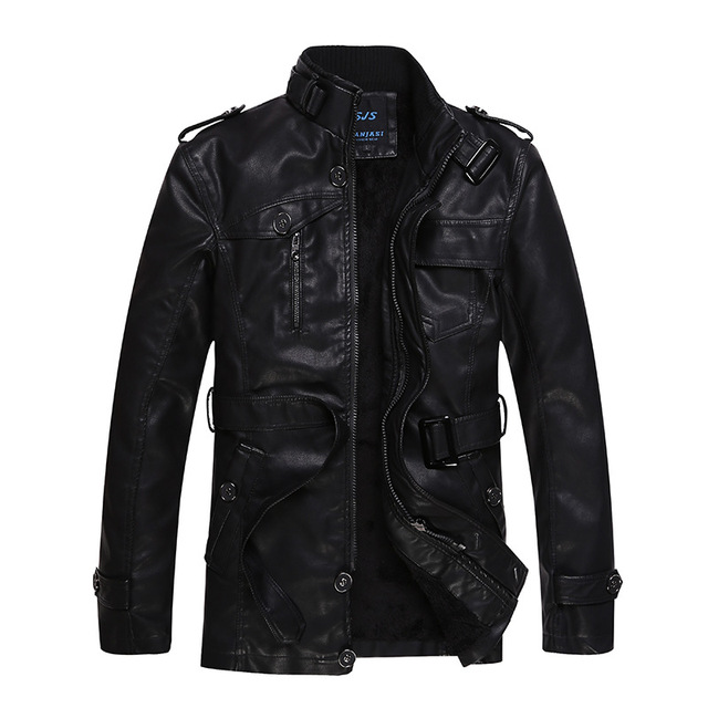 Hot Sale Men's long section  leather jacket collar men Casual Slim Fit leather jackets winter warm coat high quality
