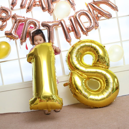 Gold 0-9 Number Balloons Wedding Room Decoration Inflatable Toys For Children Birthday Party Props 1pc