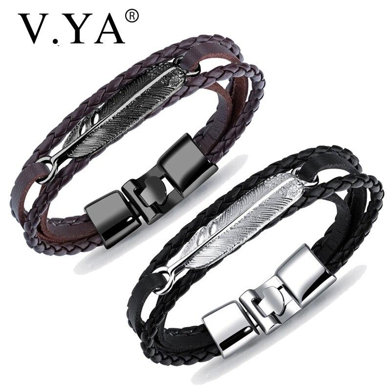 V.YA Vintage Leaf Feather Multilayer Leather Bracelets Men Fashion Braided Handmade Man Rope Wrap Bracelets & Bangles Male Gift