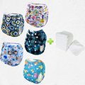 Wholesale 5pcs Prefold Cloth diaper With 5pcs Microfiber Inserts Washable Baby Cloth Nappies One size Fit all Adjust(5 sets)