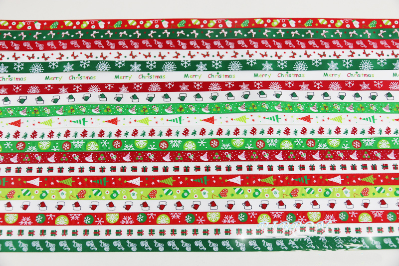 White Snowflakes on Red Ribbon 9mm Wide Grosgrain Ribbon 3 Meters