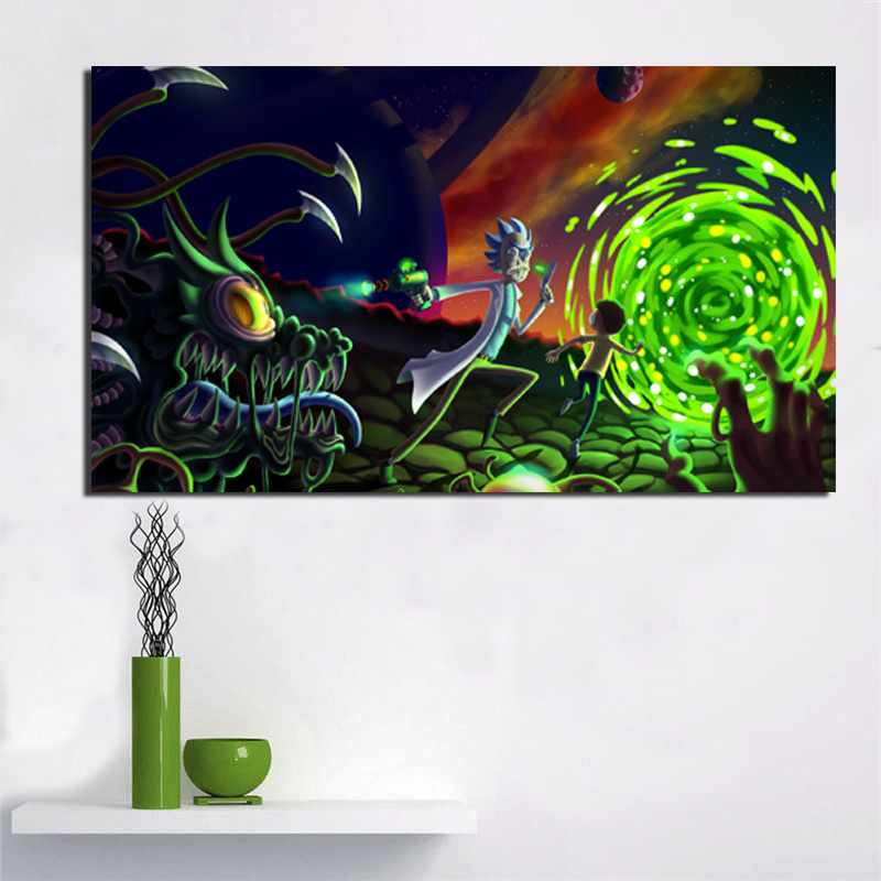 Rick And Morty Get Away Wall Art Canvas Painting Posters Prints Modern Painting Wall Pictures For Living Room Home Decor Artwork in Painting Calligraphy from Home Garden