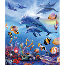 5D DIY Diamond Painting Dolphins Animal Full Round Embroidery Cross Stitch Crystal Wall